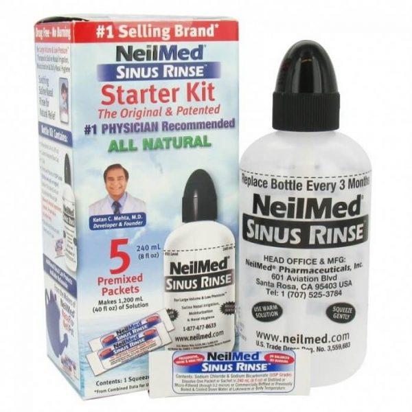 Bình rửa mũi NeilMed Sinus Rinse người lớn ( 5 gói muối )