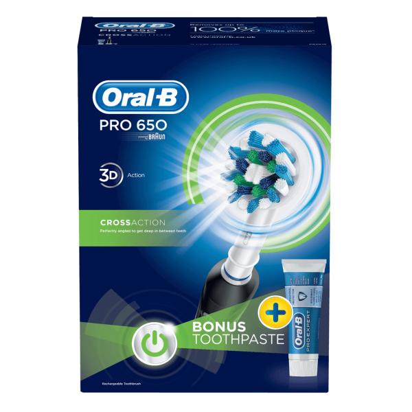 ban chai danh rang dien oral b pro 650 black 2 600x600 - Bàn chải đánh răng điện Oral-B Pro 650 Black