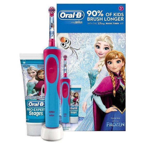 Bộ set bàn chải đánh răng điện Oral-B Vitality Frozen kèm kem đánh răng cho bé từ 3 tuổi