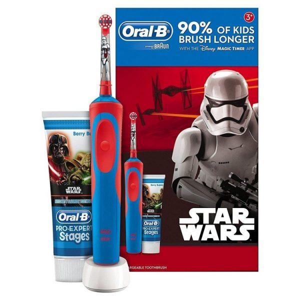 Bộ set bàn chải đánh răng điện Oral-B Vitality Star Wars kèm kem đánh răng cho bé từ 3 tuổi