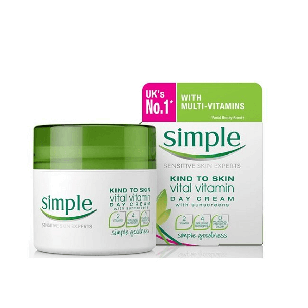 kem duong da simple kind to skin vital vitamin day cream spf 15 pa 50ml 600x600 - Kem dưỡng da Simple Kind To Skin Vital Vitamin Day Cream SPF 15 PA+++ 50ml