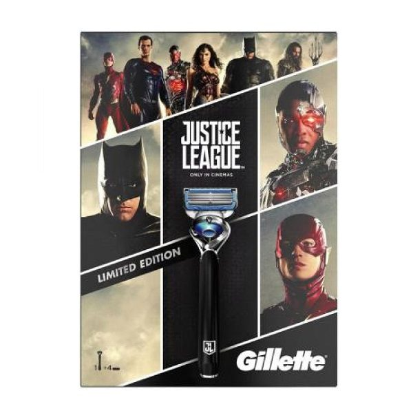 Set dao cạo râu 5 lưỡi Gillette Fusion 5 ProShield Justice League Limited Edition - 1 cán 4 lưỡi